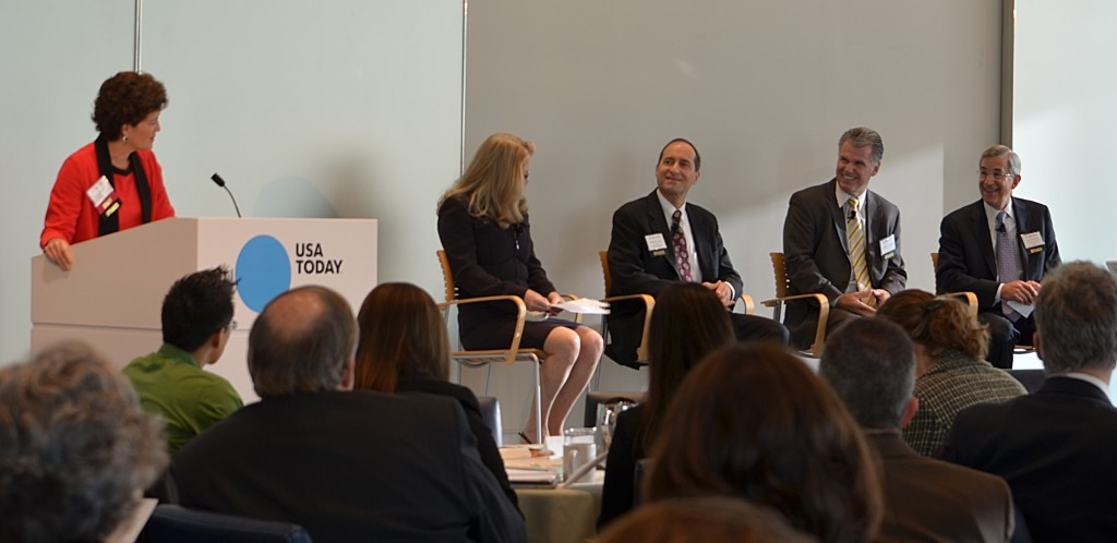 Dezzutti was joined by panelists (from left to right) Deb Alderson, President & CEO, Sotera Defense Solutions; Michael Fischetti, Executive Director, National Contract Management Association; George Obertubbesing, Vice President of Business Development, Harris IT Solutions; Ray Whitehead, Vice President of Business Development and Strategic Planning, GDIT.